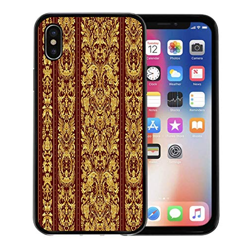 Emvency Phone Case for Apple iPhone Xs case,Border Striped on Baroque Golden Floral Damask Gold Vinous Vintage India for iPhone X Case,Rubber Border Protective Case,Black