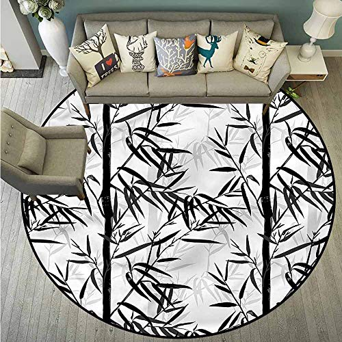 Bedroom Rugs,Bamboo,Floral Chinese Garden Zen,Anti-Static, Water-Repellent Rugs,4'3