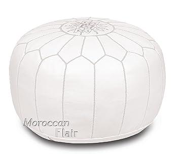 Amazon.com: Puf marroquí de piel auténtica hecho a mano ...