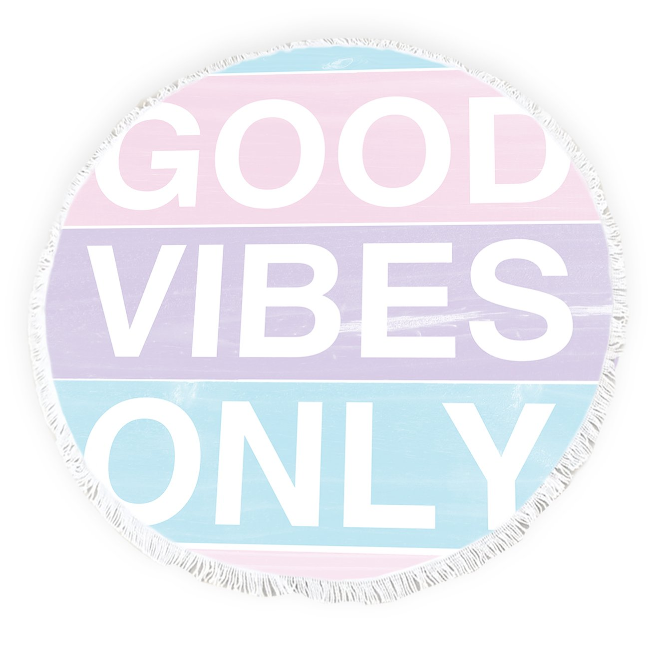 Fangship Beach Towel Round Roundie Throw Blanket with Tassels Picnic Tapestry Table Cover Colorful Wood Texts Good Vibes Only 57 inch