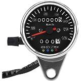 KIMISS 65mm Velocímetro de Motocicleta mecánico LED Universal, Indicador de Odómetro con indicador de Astilla (Rostro Negro)