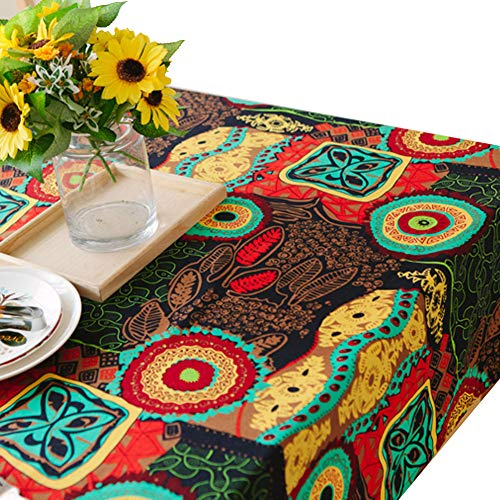 (AMZALI Vintage Linden Flower Pattern Decorative Macrame Lace Tablecloth Washable Dinner Picnic Cotton Linen Fabric Decorative Table Top Cover (55 Inch x 79 Inch))