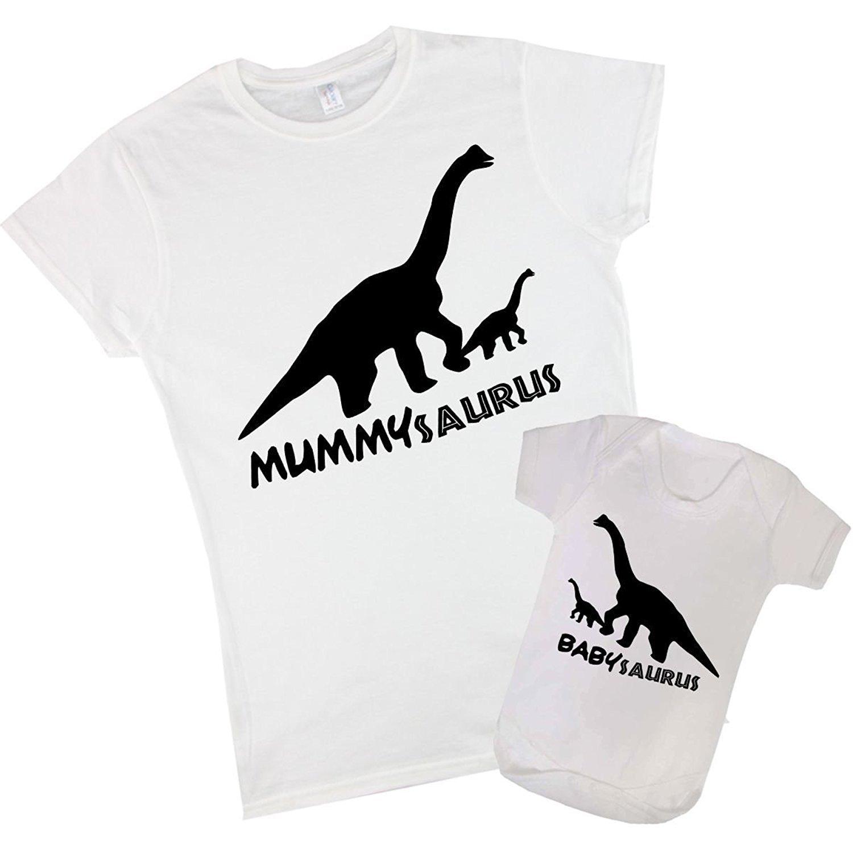 T-rex dinosaur family t-shirts and baby grow set mummysaurus Daddysaurus