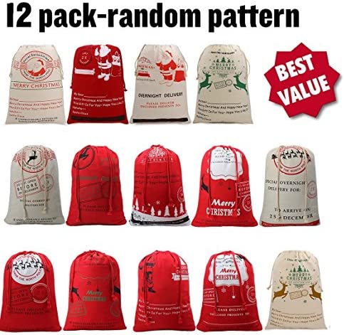 Best Deal Christmas Santa Claus Reindeer Gifts Bags Sack Burlap large capacity 19.7'27.6' (Random Pattern)