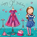 Twizler 9th Birthday Card For Girl With Dresses Dressing Up