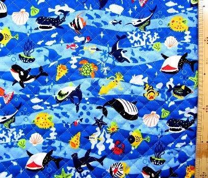 <プリント・キルティング生地>海の生き物たち(紺)#2 (海 クジラ シャチ カメ 魚 かわいい おしゃれ 男の子 女の子 子供 入園 入学ピロル)の商品画像