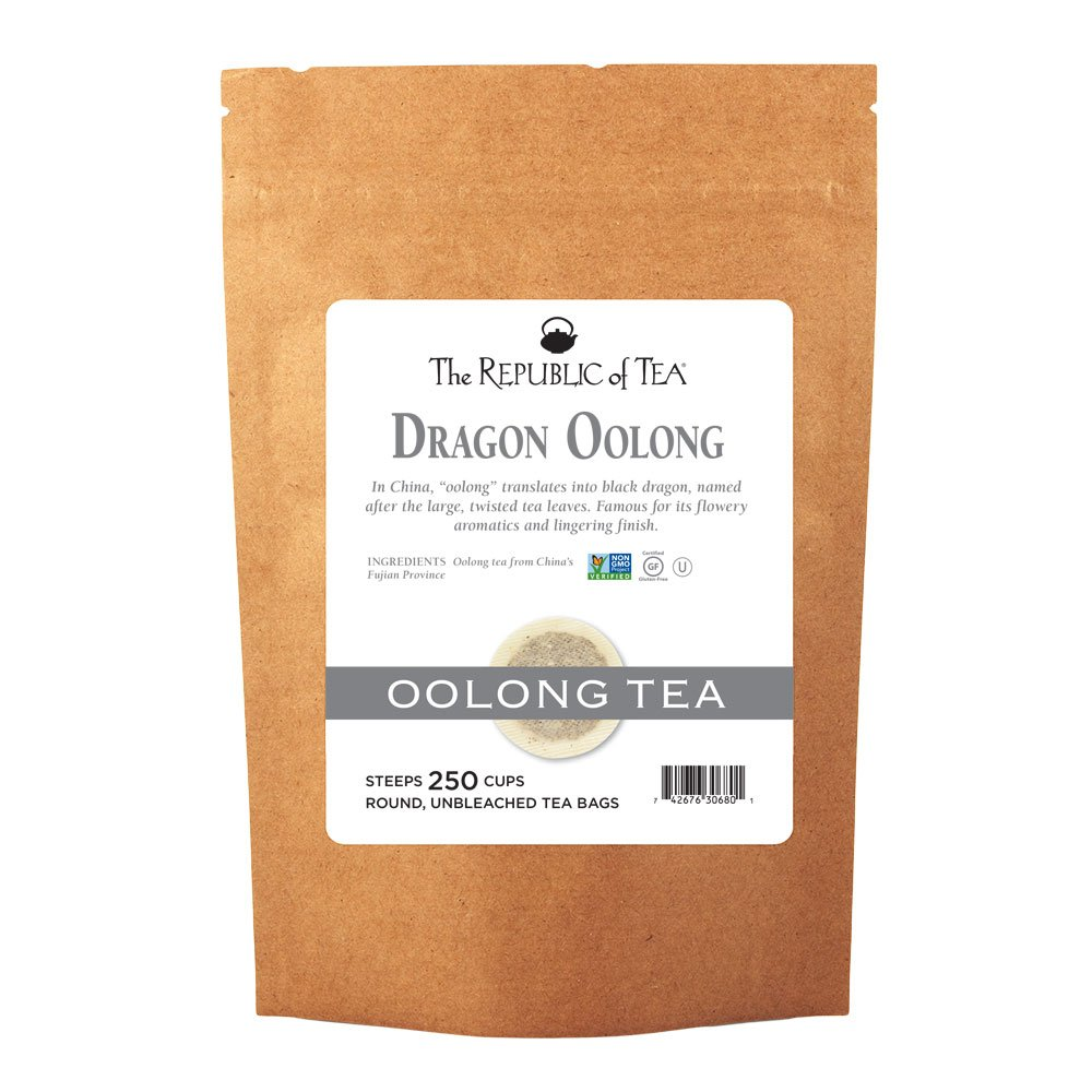 The Republic of Tea Dragon Oolong Tea Bulk, 250 Tea Bags, Pure Black Dragon Oolong, Traditional Chinese Tea