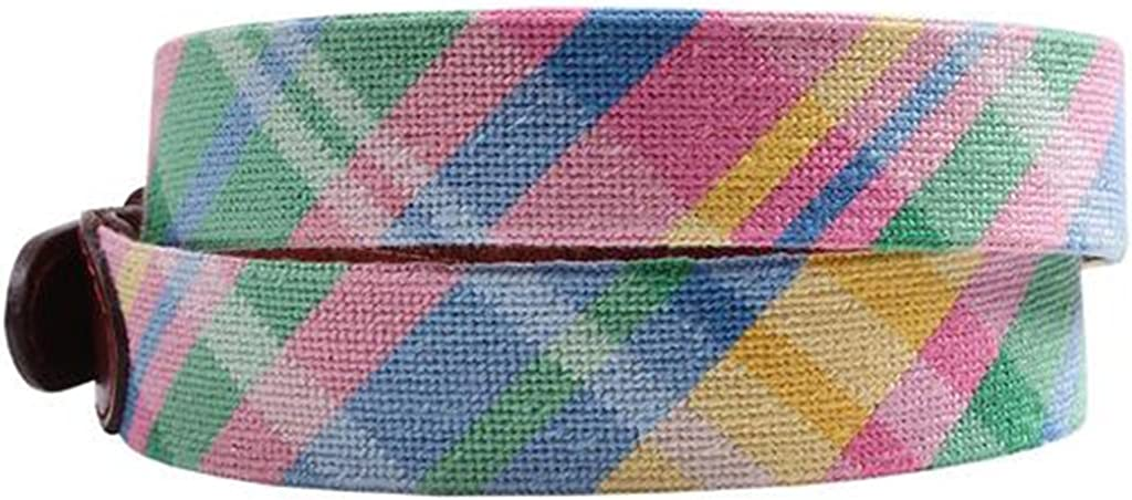 Spring Madras Needlepoint Belt by Smathers /& Branson
