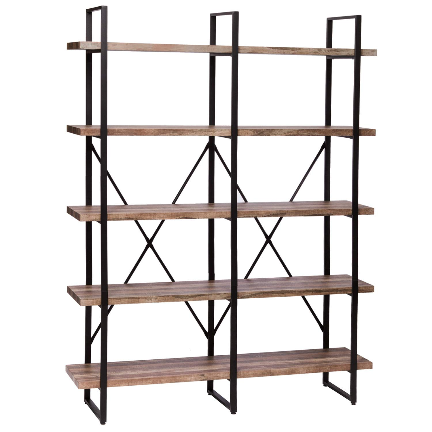 IRONCK Bookshelf, Double Wide 5-Tier Open Bookcase Vintage Industrial Large Shelves, Wood and Metal Etagere Bookshelves, for Home Decor Display, Office Furniture by IRONCK (Image #1)