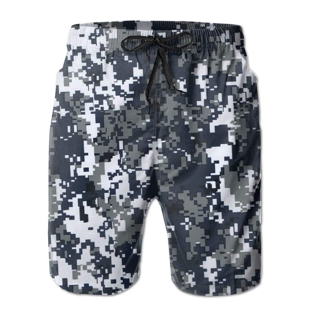 CCGGJPYI Mans Mens Boardshorts with Pockets Navy Mosaic Camo Beachwear Short for Gentleman