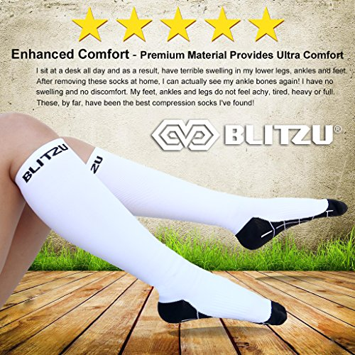 BLITZU Compression Socks 20-30mmHg for Men Women Recovery Running Travel Relief