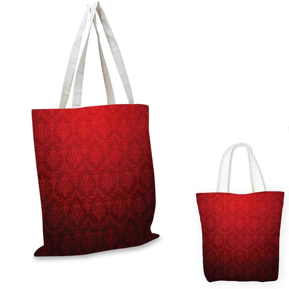 14x16-11 Dark Red canvas messenger bag Antique Floral Pattern with Baroque Royal Renaissance Influences and Ombre Effect canvas beach bag Red Black