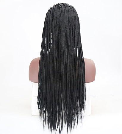 ATAYOU Natural Que Mira 24 Pulgadas Largas Trenzas Negras Pelucas De Las Mujeres Africanas Pelucas Sintéticas