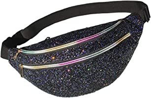 MHJY Glitter Fanny Pack Sparkly Waist Bag Shine Waist Pack for Women Rave Party Festival Travel Beach Shoulder Bag...