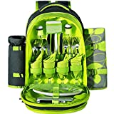 Stanfer Picnic Backpack for 4 With Cooler Compartment, Detachable Bottle/Wine Holder, Fleece Blanket, Flatware and Plates