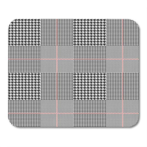 Emvency Mouse Pads Gray Pattern Prince of Wales Glen Plaid Patten in Classic Black and White Red Overcheck Check Mouse pad 9.5