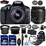 Canon EOS Rebel T6 18MP DSLR Camera with EF-S 18-55mm IS II Lens + Kit Includes, 58mm HD Wide Angle Lens + 2.2x Telephoto + 2Pcs 32GB Commander Cards + Replacement LP-E10 Battery + Backpack Case