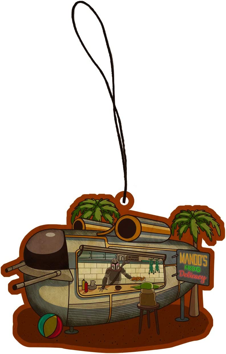 Mando's Frog Delicacy Bounty Hunter Summer Food Truck Parody Engraved Printed Wooden Rear View Mirror Car Charm Dangler