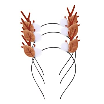 3Pcs Christmas Deer Headband Antlers Headdress Headpiece Headwear Xmas Hair Hoop