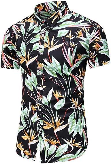 POMU verano nuevas camisas de los hombres de la moda de impresión de manga corta camisa hawaiana masculina casual flor slim fit camisas de playa plus M-5XL: Amazon.es: Ropa y accesorios