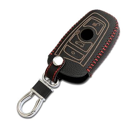 Coche Remoto Llavero carcasa, 3d tipo cartera clave remoto caso para BMW 2 3 4 5 6 7 Series Remote Smart Key Fob, Negro Hilo de alta calidad piel, ...