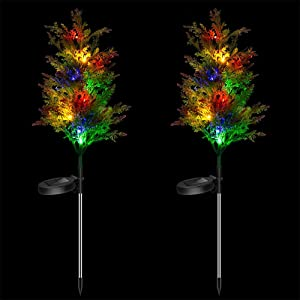 Solar Decorative Garden Stakes Lights, Christmas Party Outdoor Decor Trees with Multi Color LED Flash Lights Waterproof for Home Lawn Yard Patio Pathway Landscape (2 Pack)