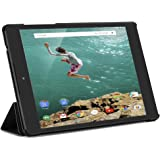 Kusen Google Nexus 9 Tablet Case with Shock Absorption Ultra-Thin PU Leather Triple Folding Performance for Google Nexus 8.9 inch Tablet (Black)