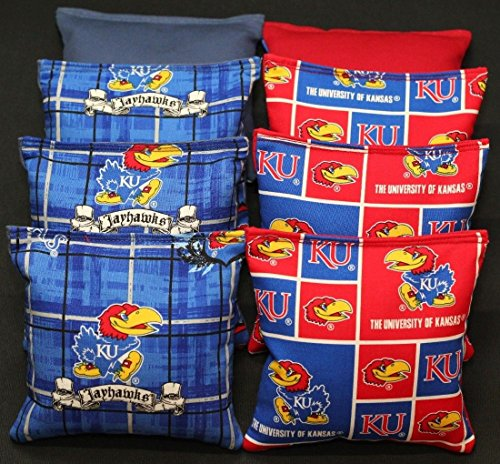 - BackYardGamesUSA Cornhole Bean Bags Made w University of Kansas Jayhawks KU Fabric ACA Regulation