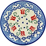 Polish Pottery Saucer 5-inch Butterfly Tulips