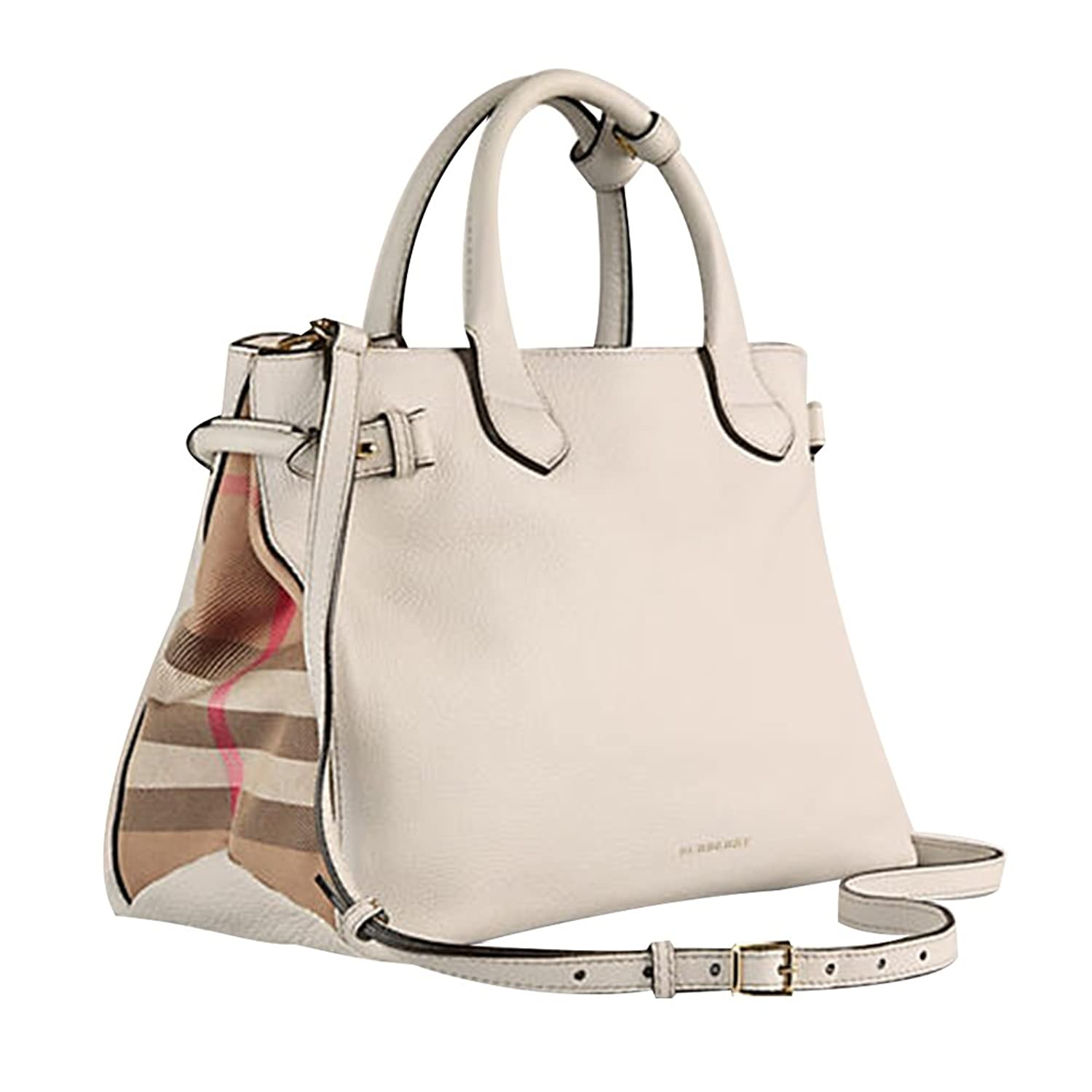 84b61e5107e8 Tote Bag Handbag Authentic Burberry Medium Banner in Leather and House  Check Natural Item 39589791