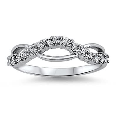 White CZ Criss Cross Polished Ring New 925 Sterling Silver Thumb Band Sizes 4-9