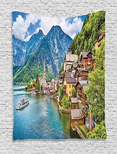 Ambesonne Wanderlust Tapestry, Hallstatt Mountain Village with Lake Hallstatt in The Austrian Alps Countryside, Wall Hanging for Bedroom Living Room Dorm, 60 X 80 , Blue Green