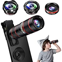 Phone Camera Lens Kit, 5 in 1 Cell Phone Lens - 12X Zoom Telephoto Lens + 0.36X Wide Angle Lens + 180°Fisheye Lens + 15X Macro Lens(2pcs) for iPhone XS Max XR X/8/7/6s Plus Samsung Android Smartphones