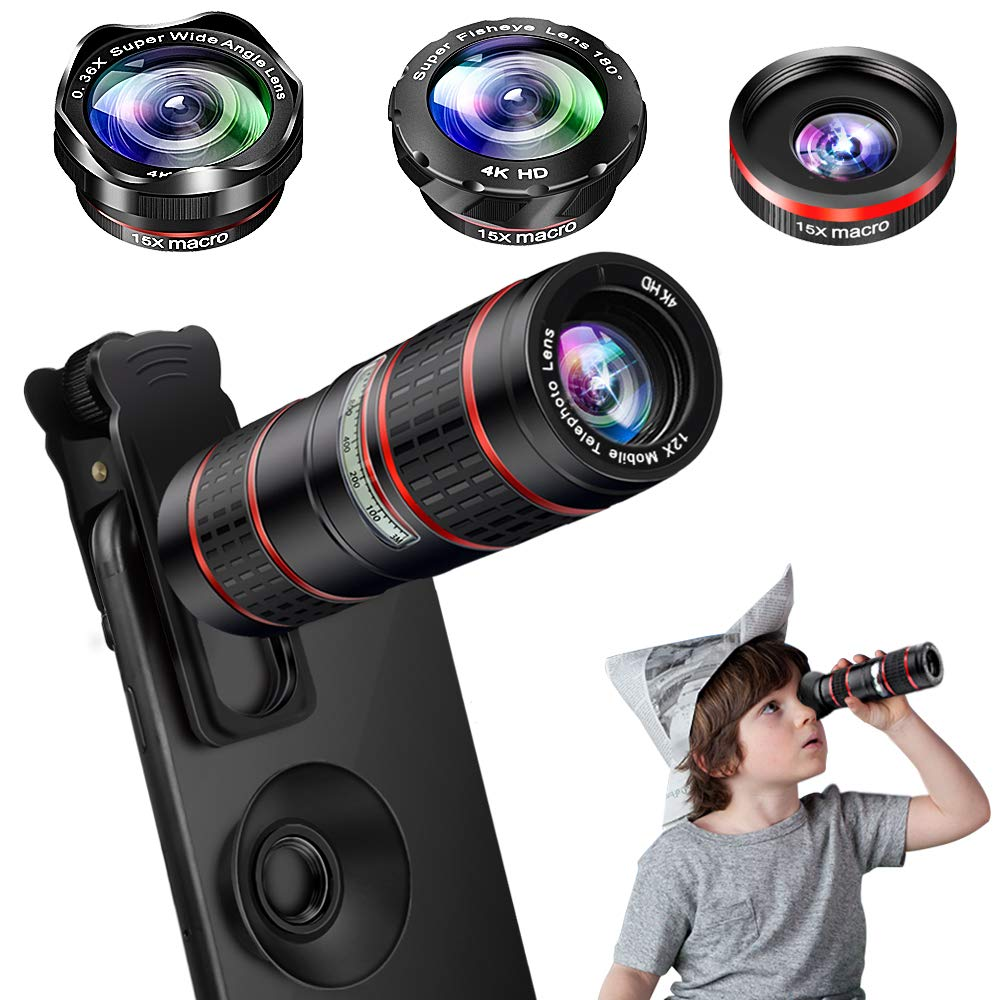 Phone Camera Lens Kit, 5 in 1 Cell Phone Lens - 12X Zoom Telephoto Lens + 0.36X Wide Angle Lens + 180° Fisheye Lens + 15X Macro Lens(2pcs) for iPhone XS Max XR X/8/7/6s Plus Samsung Android Smartphones MZTDYTL