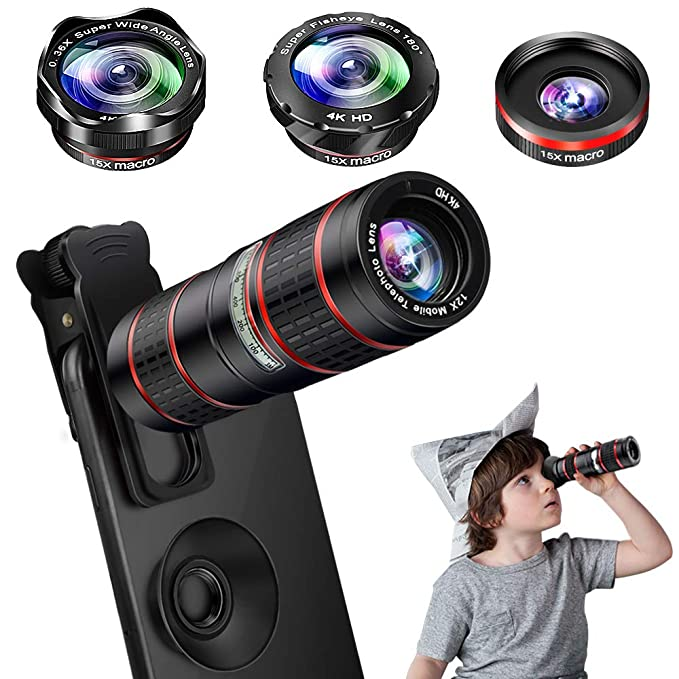 a6cac2d71ff86d Amazon.com: Phone Camera Lens Kit, 5 in 1 Cell Phone Lens - 12X Zoom ...