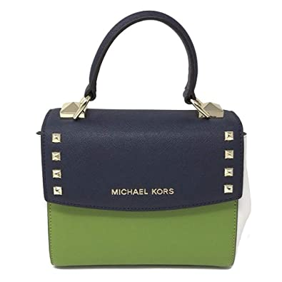 50ecc5ade206 Michael Kors Karla Studded Mini Convertible Crossbody Navy Jungle Green  Optic White: Handbags: Amazon.com