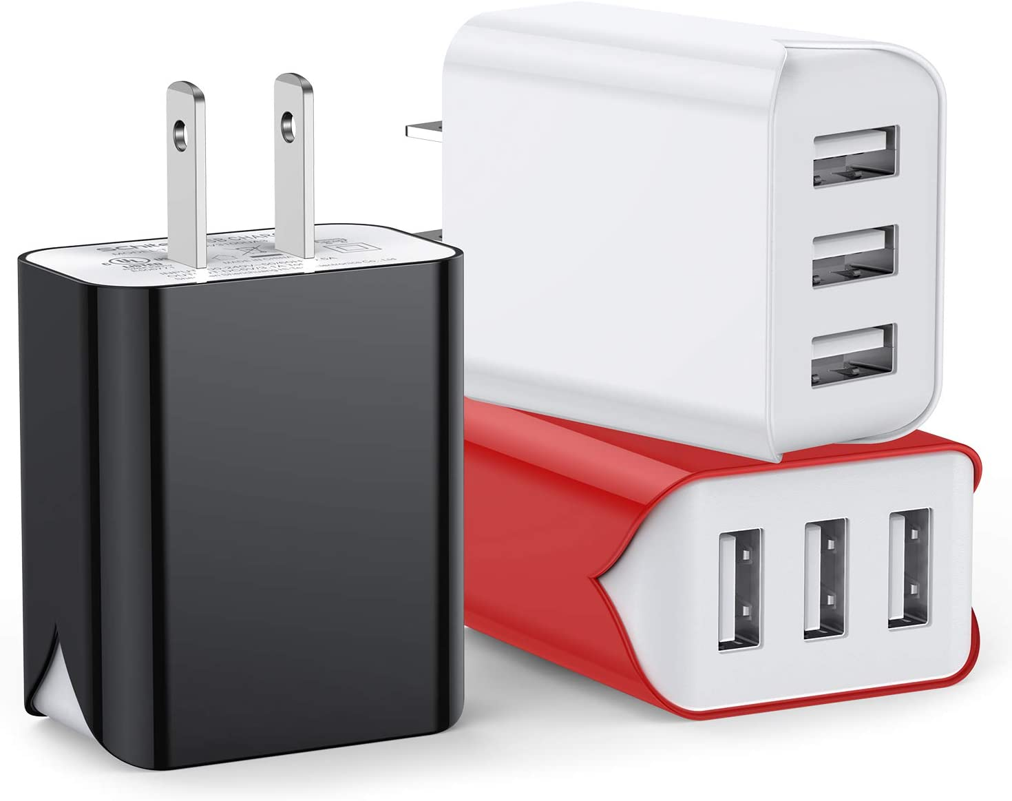 USB Wall Charger, 3-Pack 3-Port Upgraded UL Certified 3.1A Charging Block USB Plug Cube Compatible for iPhone 11/Xs/XS Max/XR/X/8/7/6/Plus,iPad Air/Mini,Galaxy10/9/8/7,Note9/8,Nexus and More