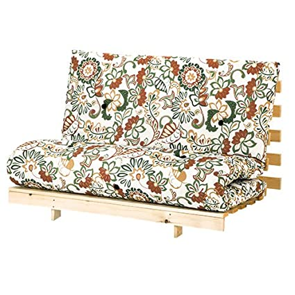 Awesome Changing Sofas Flower Design Double Futon 125Cm Wide Mattress Wooden Base Sofa Guest Bed 2 Seater Creativecarmelina Interior Chair Design Creativecarmelinacom