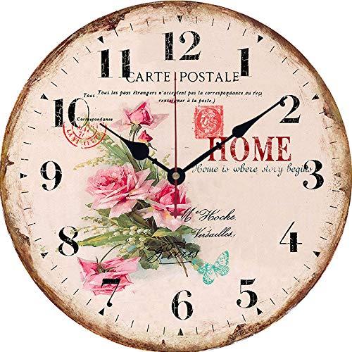 IANXI Home Reloj de Pared de la Sala de Estar del jardín del país Europeo Reloj de Pared de Madera Decorativo Simple Serie...