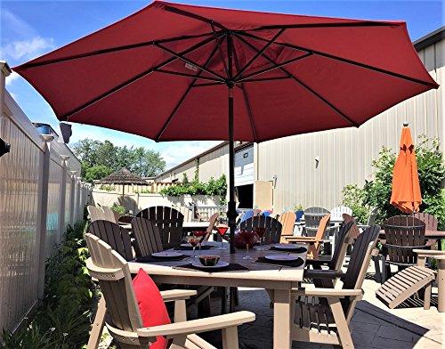 Treasure Garden 11' ft Collar Tilt Umbrella - Red (Tilt Patio Umbrella Collar)