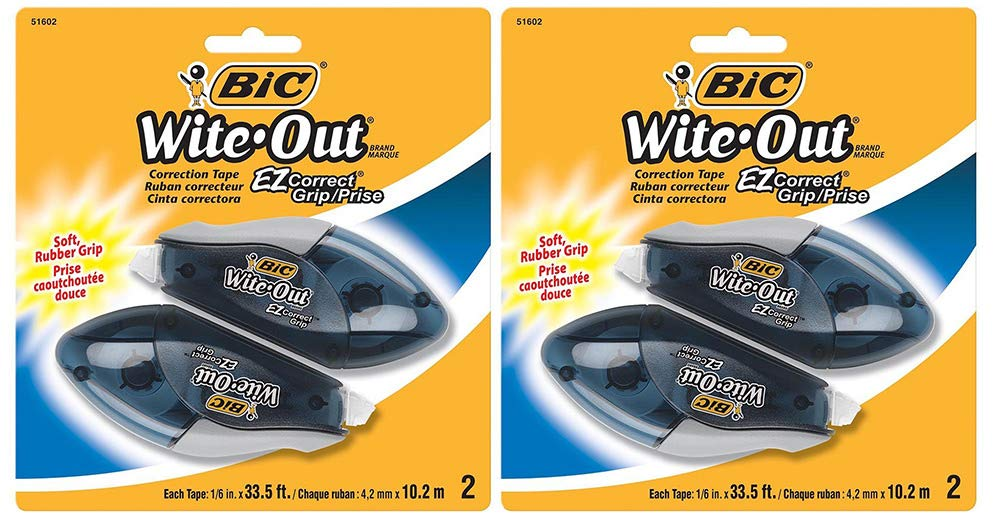 BIC Wite-Out Brand EZ Correct Grip Correction Tape, White, 2 Count (2 Pack)