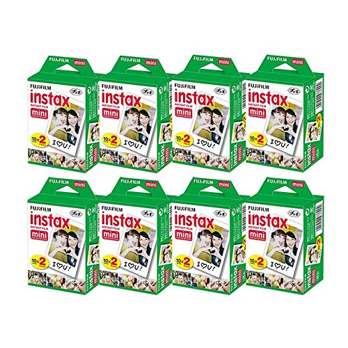 Fujifilm Instax Mini Instant Film, 2x10 Shoots x8 Pack (Total 160 Shoots) + withC Microfiber Cleaning Cloth+ Free 80PCS Sticker for Fuji Mini 90 8 70 7s 50s 25 300 Camera SP-1 Printer by Fujifilm