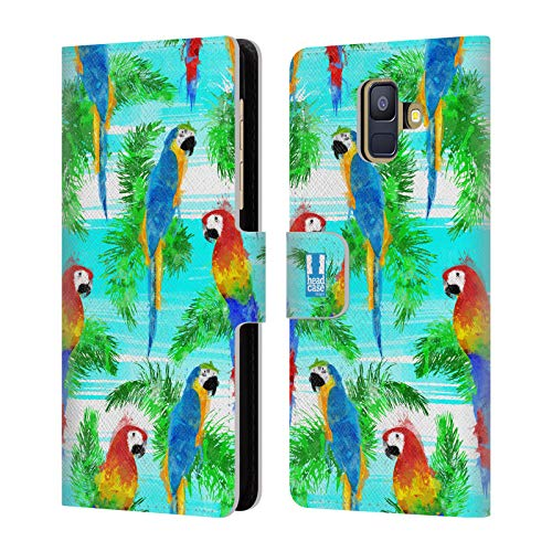 Head Case Designs Colourful Birds Tropical Paradise Leather Book Wallet Case Cover for Samsung Galaxy A6 (2018)