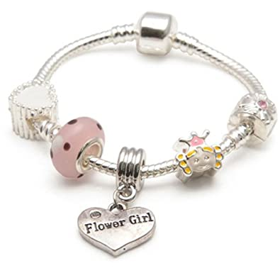 Amore Silver & Pink Flower Girl Bracelet with Crystals - Wedding Gift z0L09