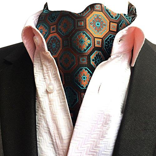 Orange Paisley Ascot Jacquard Scarf Patterned Floral Necktie YCHENG Jacquard Men's 04 Lja 6IqPIxp