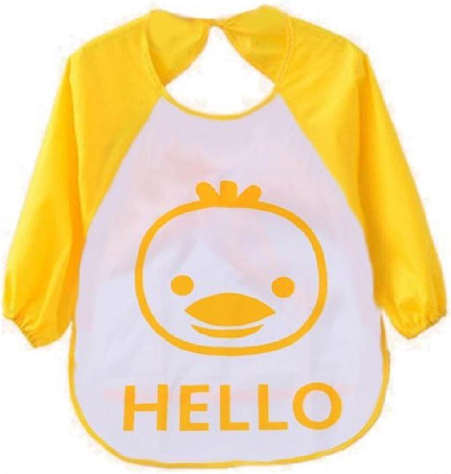 Auxma de dibujos animados Los niños para niños plástico translúcido suave para bebés baberos impermeables(amarillo)