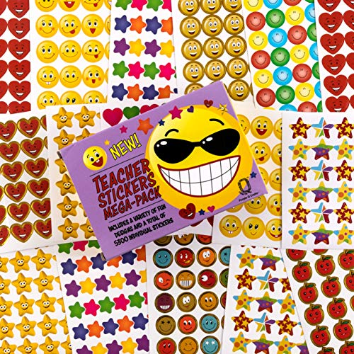 Purple Q Crafts Teacher Stickers 5300 Pack Fun Small Reward Stickers for Classroom Assorted Mega Pack with 10 Designs