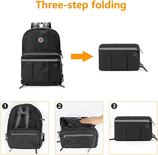 Laelr Laptop Backpack 20-35L Packable Rucksack Foldable Daypack Portable Shoulder Bag Nylon Waterproof Tear-Resistant with Earphone Port for Men Women Travel Camping Hiking Mountaineering