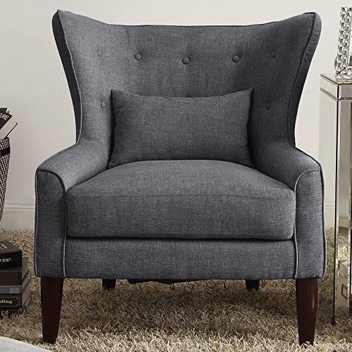 Rosevera C15-3 (Grey) Liviana Tufted Wingback Chair with Back Cushion, Multiple Colors