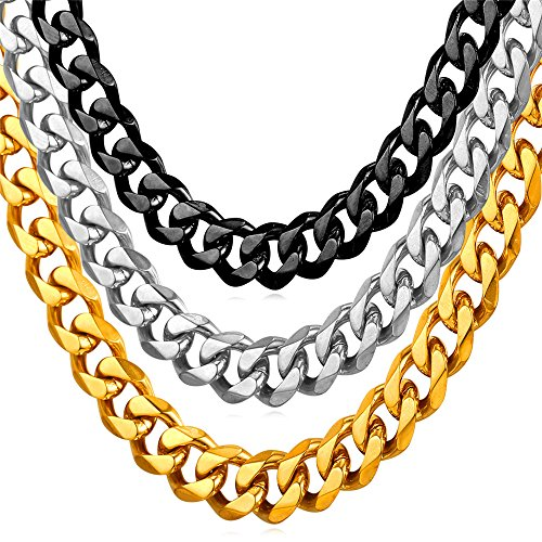 (U7 Men Turnover Chain Hip Hop Heavy 9MM Wide Stainless Steel Miami Cuban Curb Chains Necklace 22)